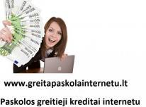 Paskola internetu be užstato. Kreditai internetu.